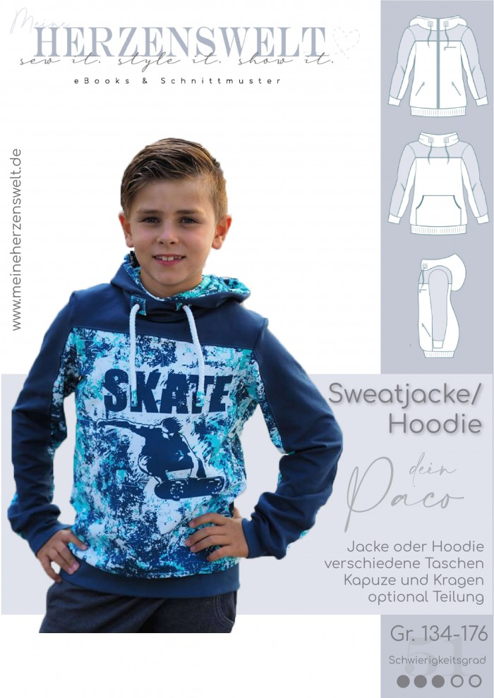 Paco Sweatjacke Kinder Schnittmuster