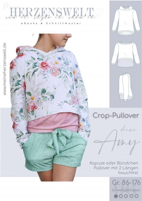 Amy Cropshirt Mädchen - Pullover - Nähanleitung - Schnittmuster