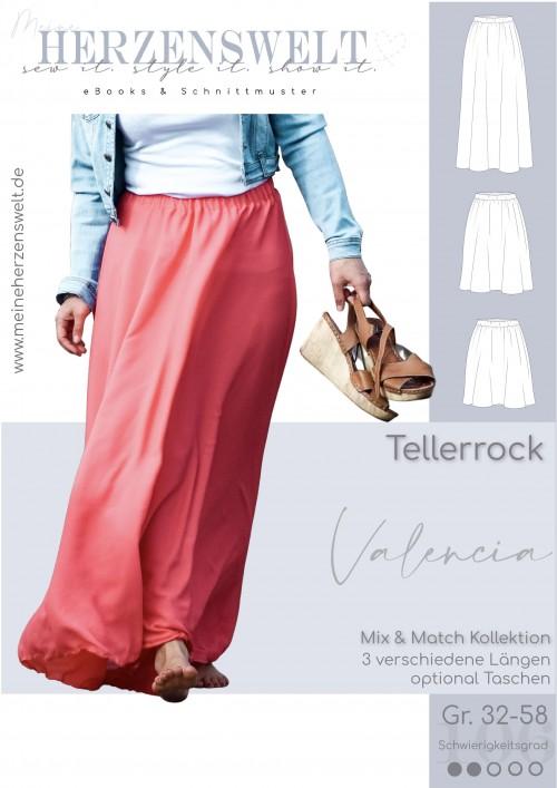 Nähanleitung Schnittmuster Tellerrock Rock Valencia Damen meine Herzenswelt